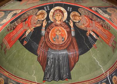 Holy Bishopric of Morphou:Mural painting of the Virgin Blachernitissa, Church of the Holy Cross of Ayiasmati, (3-3,1)