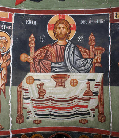 Holy Bishopric of Morphou: Mural painting of the Communion of the Apostles: Christ officiating (3-3,2)