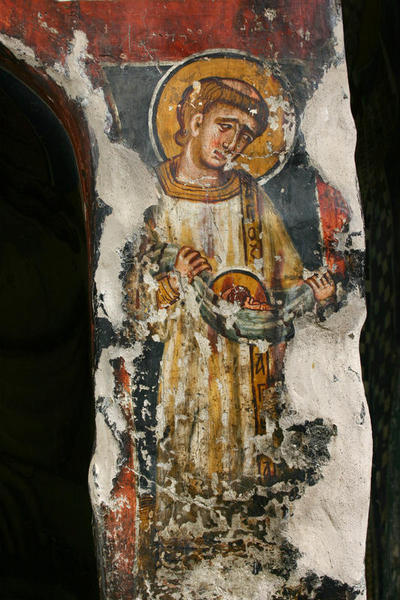 Holy Bishopric of Morphou: Mural painting of St Euplos, Church of the Holy Cross of Ayiasmati (3-3,17)