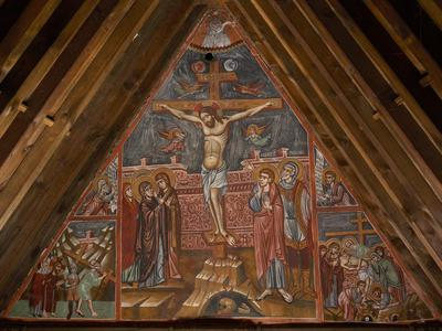 Holy Bishopric of Morphou:  Mural painting of Crucifixion, The prophets Micah and Moses, The way of the cross, Church of the Holy Cross of Ayiasmati (6-6, 60,61,62,63,64)