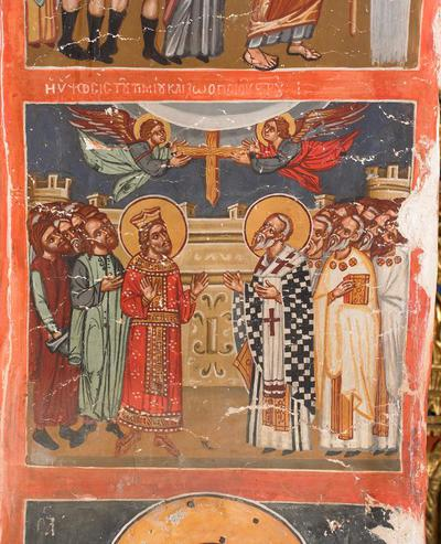 Holy Bishopric of Morphou: Mural painting of the exaltation of the Holy Cross, Church of the Holy Cross of Ayiasmati (3-3, 88)