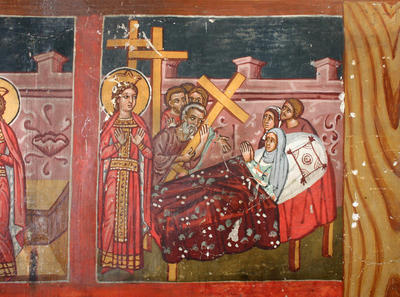 Holy Bishopric of Morphou: Mural painting of the testing of the Crosses and the miracle of the resurrection of the dying woman, Church of the Holy Cross of Ayiasmati (1-1,79)