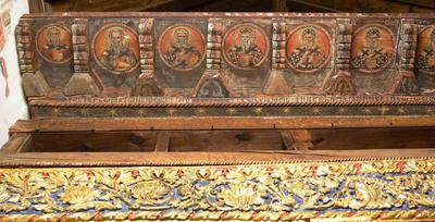 Holy Bishopric of Morphou: Hierarchs in medallions along the top of the epistyle, Church of the Holy Cross of Ayiasmati