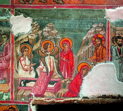 Holy Bishopric of Morphou: Maria and Magdalena before the empty tomb and 'Touch me not' ,Monastery of Saint John Lampadistis in Kalopanayiotis