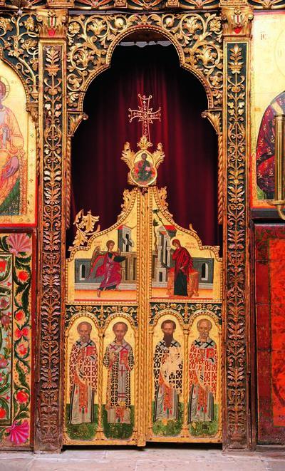 Holy Bishopric of Morphou: The Doors to the holy sanctuary, Monastery of Saint John Lampadistis in Kalopanayiotis