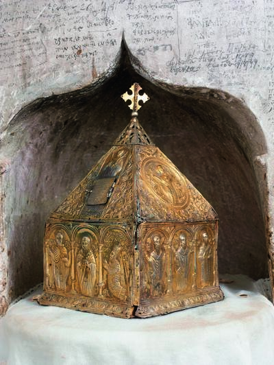 Holy Bishopric of Morphou: The silver and gilded reliquary with the skull od Saint John Lampadistis, Monastery of Saint John Lampadistis in Kalopanayiotis