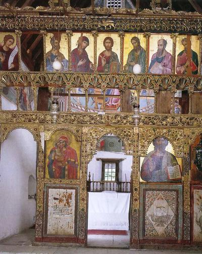 Holy Bishopric of Morphou: The carved wooden iconostasis, Church of the Virgin Podithou in Galata