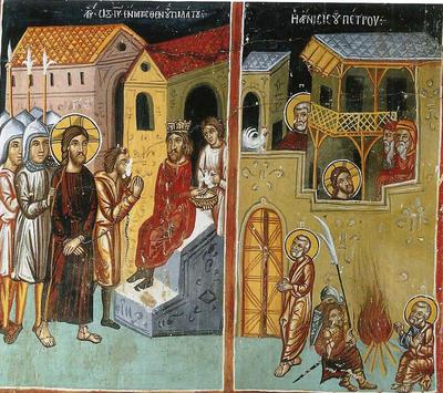 Holy Bishopric of Morphou: Christ before Pilatus and the Denial of Peter, Church of the Theotokos in Galata