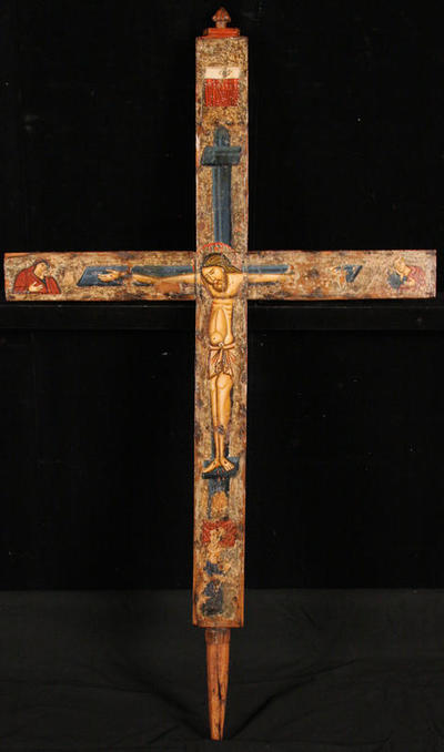 Byzantine Museum of Holy Bishopric of Tamasos and Oreinis (Cyprus): Wooden painted cross. Obverse (TE2233)