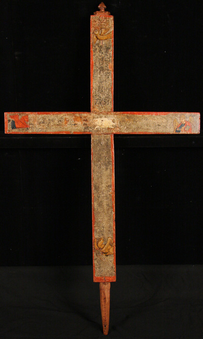 Byzantine Museum of Holy Bishopric of Tamasos and Oreinis (Cyprus): Wooden painted cross. Reverse (TE2233)