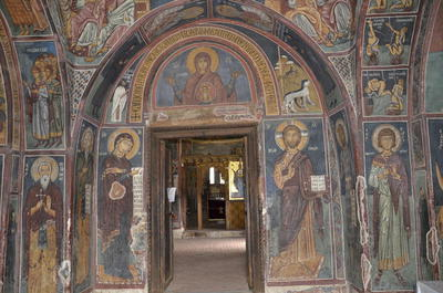 Department of Antiquities, Republic of Cyprus, Nikitari, Church of Panagia (Our Lady) of Asinou, narthex, view toward east, wall paintings