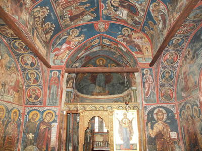 Department of Antiquities, Republic of Cyprus, Nikitari, Church of Panagia (Our Lady) of Asinou, nave, looking east, wall paintings