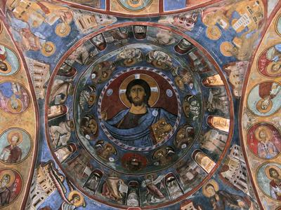 Department of Antiquities, Republic of Cyprus, Lagoudera, Church of Panagia (Our Lady) tou Arakos, general view of the dome, wall paintings