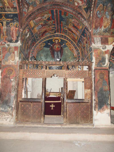 Department of Antiquities, Republic of Cyprus, Kalopanagiotis, Monastery of Saint John Lampadistis, main church (katholikon) of Saint Herakleidios, looking east, wall paintings and templon