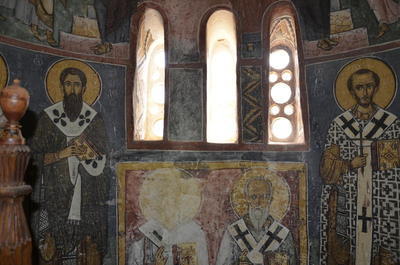 Department of Antiquities, Republic of Cyprus: Nikitari, Church of Panagia (Our Lady) of Asinou, semicylindrical wall of the apse (center), wall paintings (DSC4629)