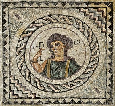 Department of Antiquities, Republic of Cyprus, Kourion, Annex of Eustolios, central room of the baths, mosaic floor with bust of Ktisis