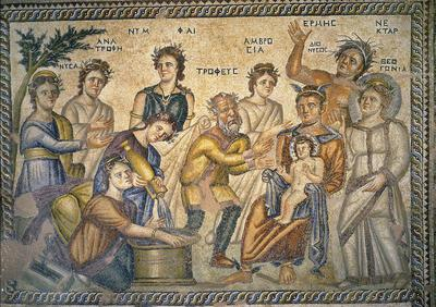 Department of Antiquities, Republic of Cyprus, Nea Paphos, House of Aion, reception hall, mosaic floor, top right panel