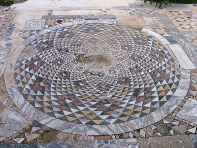 Department of Antiquities, Republic of Cyprus, Salamis (Famagusta), Basilica of Kampanopetra, east of the eastern atrium, baths, floor: opus sectile (15)
