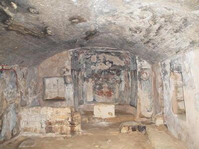 Department of Antiquities, Republic of Cyprus, Nea Paphos, Catacomb of Saint Solomoni, Interior, looking east: nave, bema: wall paintings