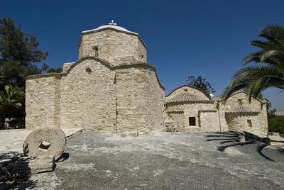 Department of Antiquities, Republic of Cyprus, Politiko, Monastery of Saint Herakleidios, east view of the katholikon and the domed chapel (mausoleum) (69)