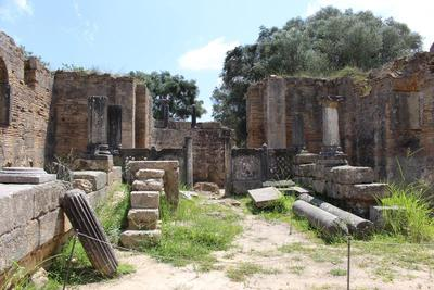 The interior of the Early Christian Basilica at the Sanctuary of Zeus at Olympia.
