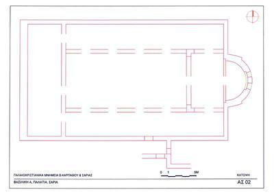 Saria island, Palatia site, Early Christian settlement: plan of three-aisled  basilica (Aghia Sophia)
