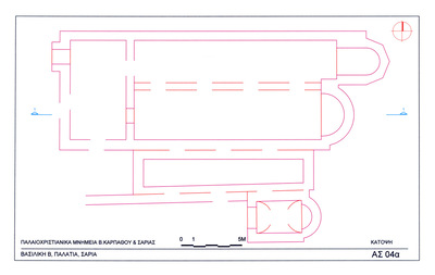 Saria island, Palatia site, Early Christian settlement: plan of Early Christian basilica (Basilica B)
