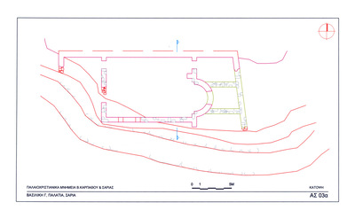 Saria island, Palatia site, Early Christian settlement: plan of Early Christian basilica (