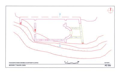Saria island, Palatia site, Early Christian settlement: plan of Early Christian basilica (Basilica C)