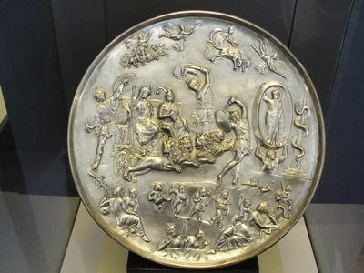 The so-called Parabiago plate; silver circular plate depicting  Cybele and Attis in the company of cosmological and mythological figures. Displayed at the Milan Archaeological Museum. 4th-5th century A.D.