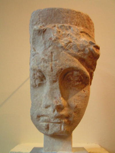 Colossal female head with incised crosses, from Xerokampi, Museum of Sparta, Greece