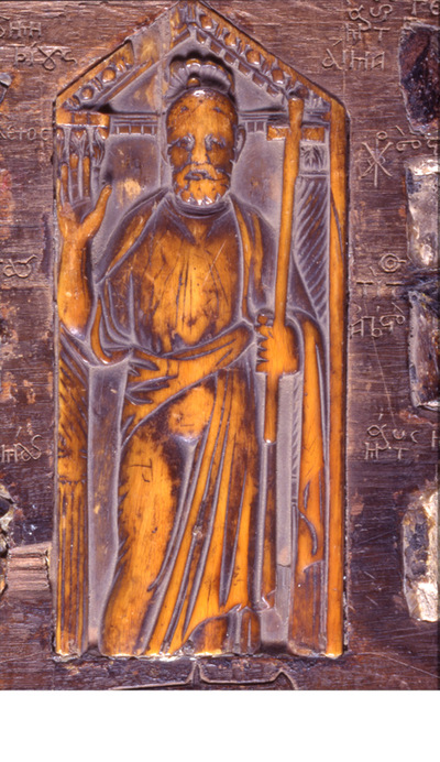Μουσείο Ιεράς Μονής Κύκκου (Κύπρος): Πλακίδιο από ελεφαντόδοντο με τον Απόστολο Πέτρο, στερεωμένο σε μεταγενέστερο ξύλινο αντιμήνσιο