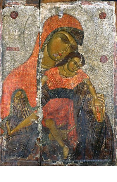 Μουσείο Ιεράς Μονής Κύκκου (Κύπρος): Εικόνα, Βρεφοκρατούσα Θεοτόκος η Κυκκιώτισσα, με επιγραφή ΜΡ ΘΥ Η Κυκηότισα