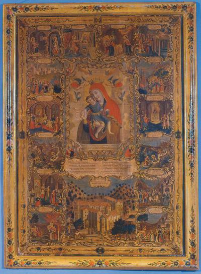 Μουσείο Ιεράς Μονής Κύκκου (Κύπρος): Επιχρωματισμένη Χαλκογραφία. Έργο του Μιχαήλ του Αποστόλη. Τυπώθηκε στη Βενετία το 1778. Απεικονίζει στο μέσο την Ελεούσα του Κύκκου και γύρω σε 15 διάχωρα σκηνές από την ιστορία της αγίας Εικόνας και της Ιεράς Μονής Κύκκου. (Ρ 10)
