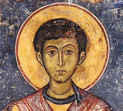 Μουσείο Ιεράς Μονής Κύκκου (Κύπρος): Λεπτομέρεια από την αποτοιχισμένη τοιχογραφία με απεικόνιση του Αγίου Δημητρίου από το ναό Αγίου Αντωνίου, Κελλιά, Λάρνακα. (E 807)