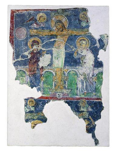 Μουσείο Ιεράς Μονής Κύκκου (Κύπρος): Παράσταση της Σταύρωσης και τμήμα της Αποκαθήλωσης του Χριστού. Αποτοιχισμένη τοιχογραφία από το ναό του Αγίου Αντωνίου, Κελλιά, Λάρνακα, 13ος αιώνας (E 808)