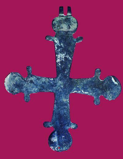 Μουσείο Ιεράς Μονής Κύκκου (Κύπρος): Πεπλατυσμένος χάλκινος παλαιοχριστιανικός σταυρός με κεραίες που απολήγουν σε επίμηλα. (Δ 148)