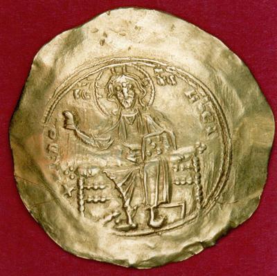 Μουσείο Ιεράς Μονής Κύκκου (Κύπρος): Χρυσό υπέρπυρο Αλεξίου Α' Κομνηνού (1092-1118). Έμπροσθεν