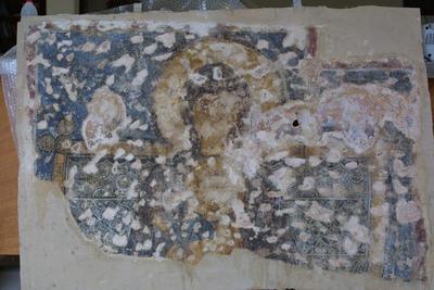 Μουσείο Ιεράς Μονής Κύκκου (Κύπρος): Απεικόνιση ένθρονης Παναγίας με το Χριστό. Αποτοιχισμένη τοιχογραφία από το ναό Αγίου Αντωνίου, Κελλιά, Λάρνακα. (E 814)