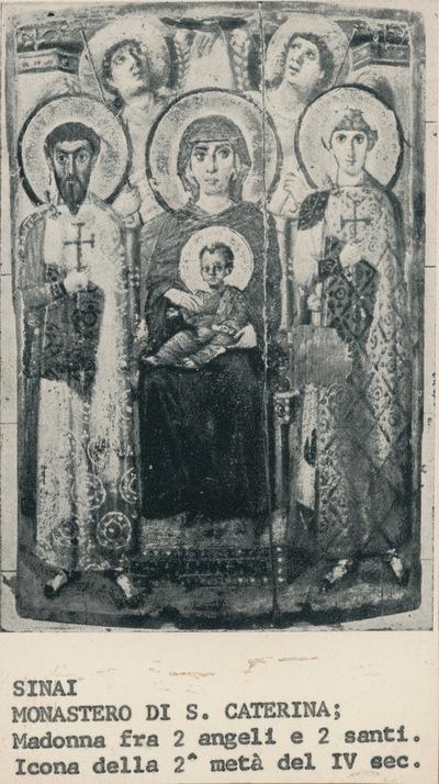 Sinai, Monastero di S. Caterina; Madonna fra due angeli e due santi. Icona della 2° metà del IV sec.