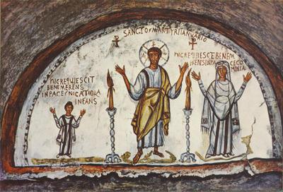 Napoli, Catacomba di San Gennaro, tra le defunte Cominia e Nicatiola