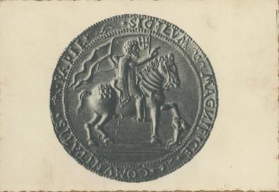 Pavia - Museo Civico: sigillo argenteo della città del 1532 con la raffigurazione del