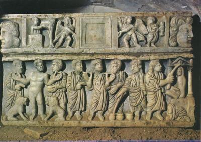 Roma: Catacombe di Callisto. Episodi dell' antico e nuovo testamento in una urna del IV secolo
