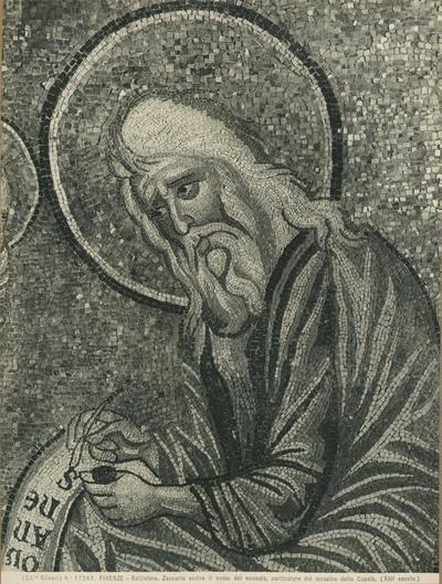 (Ed.ne Alinari) No 17243 Firenze - Battistero. Zaccaria scrive il nome del neonato, particolare del mosaico della cupola (XIII secolo)