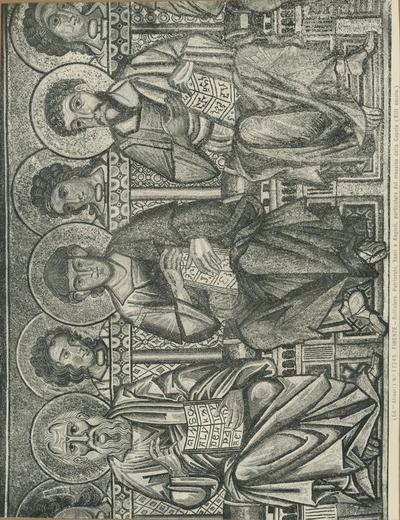 (Ed.ne Alinari) No 17245 Firenze - Battistero. Patriarchi, Santi e Angioli, particolare del mosaico della cupola (XIII secolo)