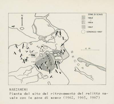 Marzamemi. Pianta del sito del ritrovamento del relitto navale con le zone di scavo (1962, 1965, 1967)