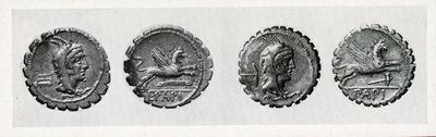 Monete di L. Papius con arnesi da artigiano