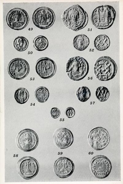 49-50: Coni di Maurizio, 51-52: Coni di Maurizio, 53: Solido di Foca, 54: Tremisse di Foca, 55: Siliqua di Foca, 56-57: Monete enee di Foca, 58-59-60: Coni di Eraclio
