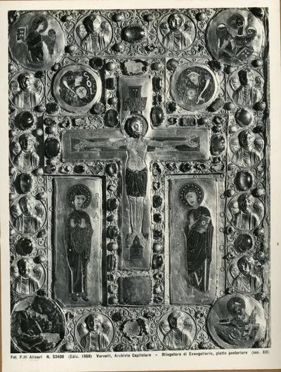 Vercelli, Archvio Capitolare- Rilegatura adi Evangeliario, piatto posteriore facciata anteriore (sec. XII)