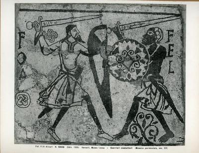 Vercelli, Museo Leone- Guerrieri combattenti (Mosaico pavimentale, sec. XII)